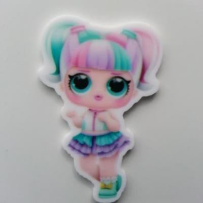 cabochon en resine poupée LOL couettes pastel  28*40mm