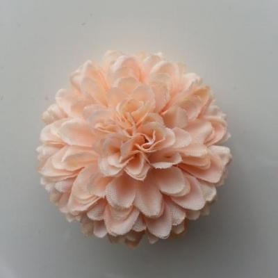 Fleur  pompon en tissu pêche   50mm