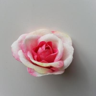 rose en tissu 40mm ivoire et rose