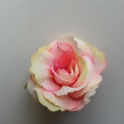 40mm fleur en tissu   vieux ivoire rose et vert