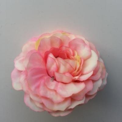fleur artificielle en tissu ivoire et rose bonbon  55mm