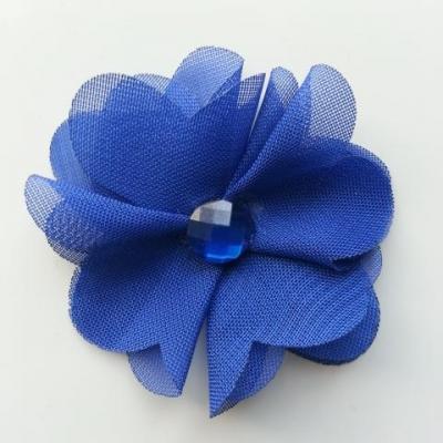 Fleur en tissu mousseline 50mm bleu royal