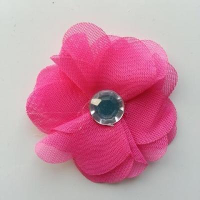 Fleur en tissu mousseline 50mm rose fuchsia