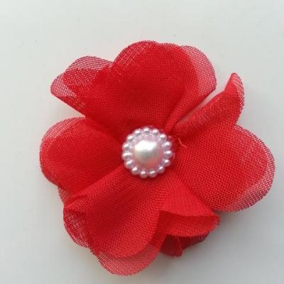 Fleur en tissu mousseline 50mm rouge