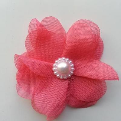 Fleur en tissu mousseline 50mm rose saumon