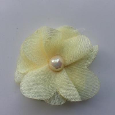 Fleur en tissu mousseline 50mm ivoire