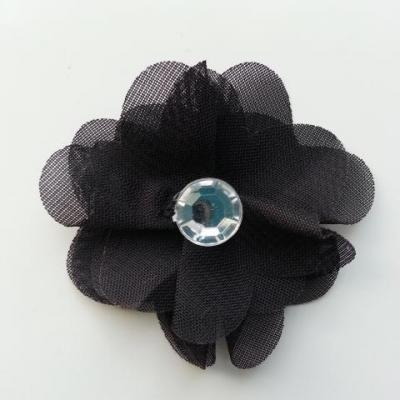 Fleur en tissu mousseline 50mm noir