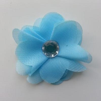 Fleur en tissu mousseline 50mm bleu ciel