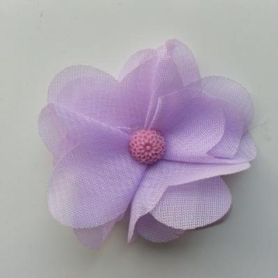 Fleur en tissu mousseline 50mm mauve