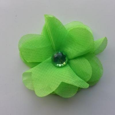 Fleur en tissu mousseline 50mm vert