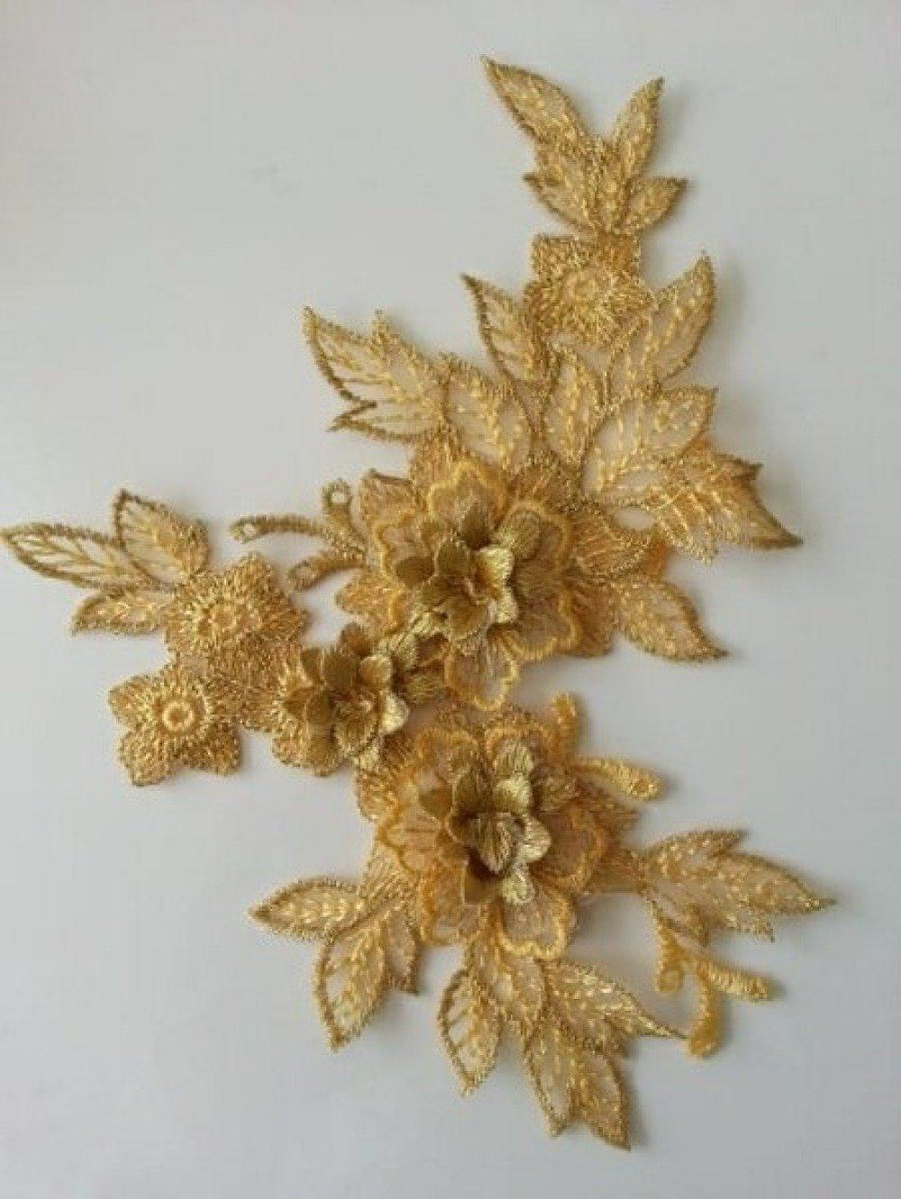 2165928 applique en dentelle et fleur doree 15 19cm 1