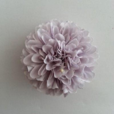Fleur  pompon en tissu  gris 50mm