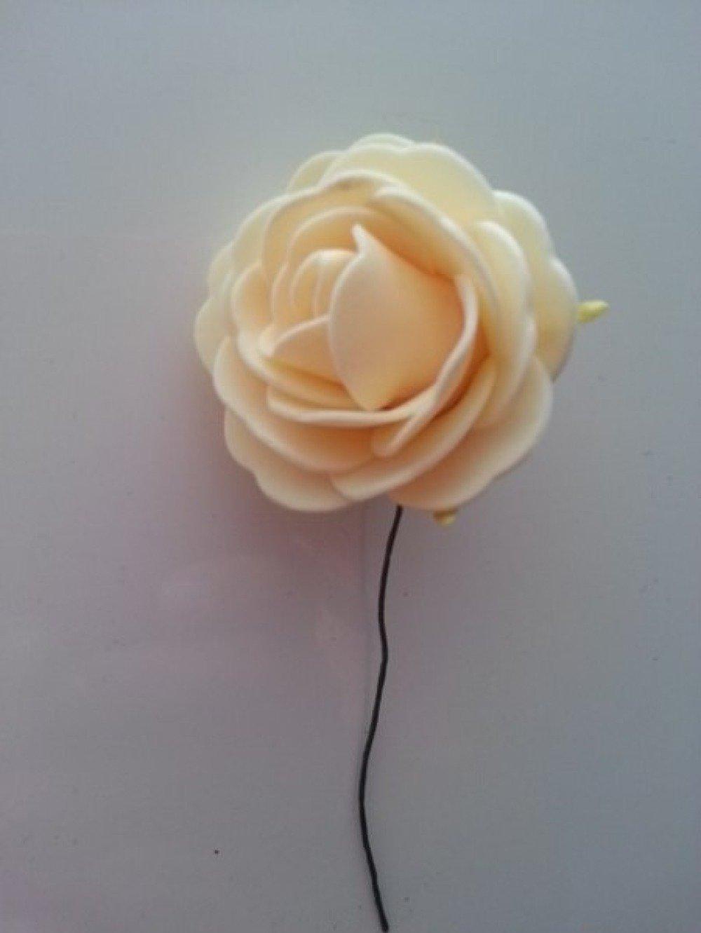 2210128 rose en mousse sur tige peche clair 50mm 1