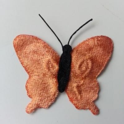 papillon en tissu  50mm peche