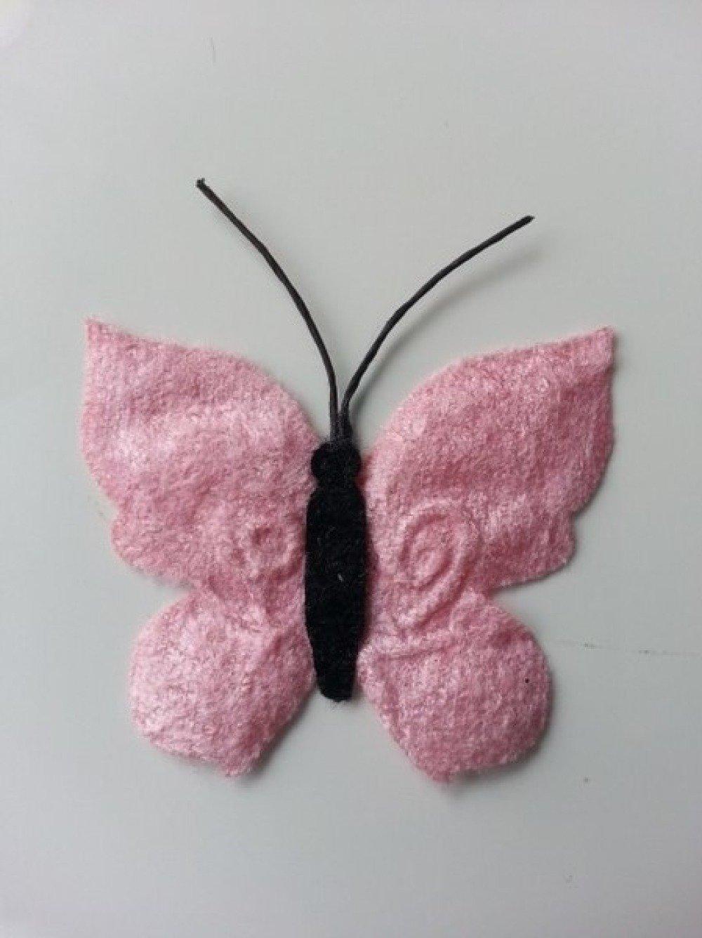 2253127 papillon en tissu rose 50mm 1