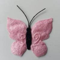 papillon en tissu  50mm rose