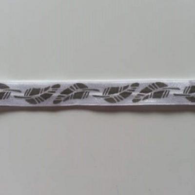 Bandeau élastique blanc à plumes grises