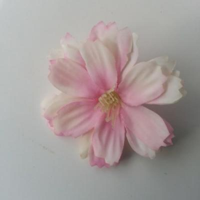 fleur en tissu rose et ivoire 40mm