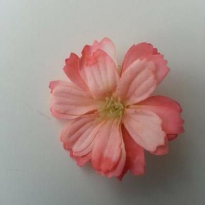 fleur en tissu peche et saumon  40mm