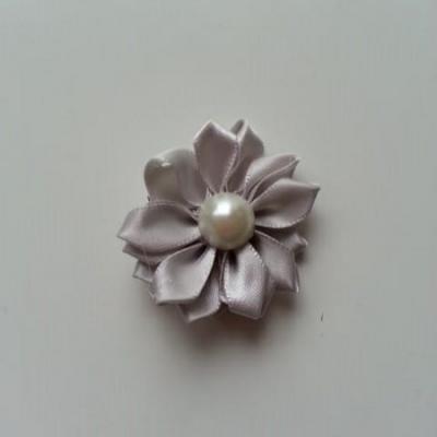 fleur satin demi perle  35mm gris