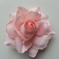 rose artificielle en tissu pailleté rose peche  80mm
