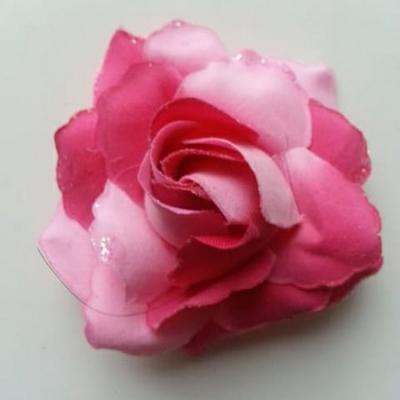 rose artificielle en tissu pailleté rose et rose fuchsia  80mm