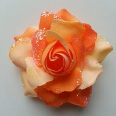 rose artificielle en tissu pailleté orange 80mm