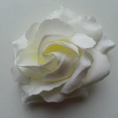 rose artificielle en tissu pailleté ivoire  80mm