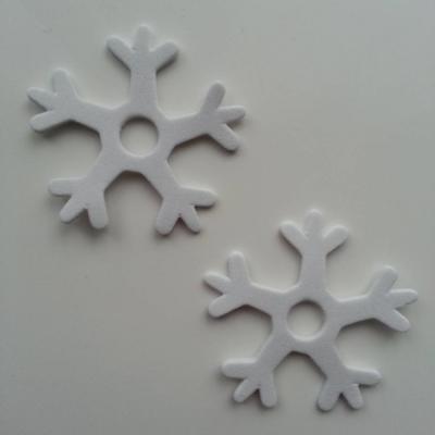Lot de 2 etoiles de noel  en mousse autocollante blanche 45mm (6)