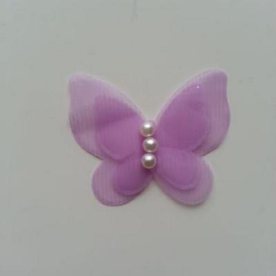 Applique double papillon  voile  et perle   45mm mauve