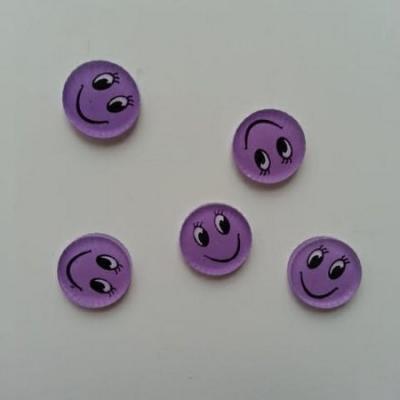 Lot de 5 embellissements en résine sourire 13mm mauve