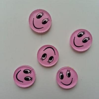 Lot de 5 embellissements en résine sourire 13mm rose