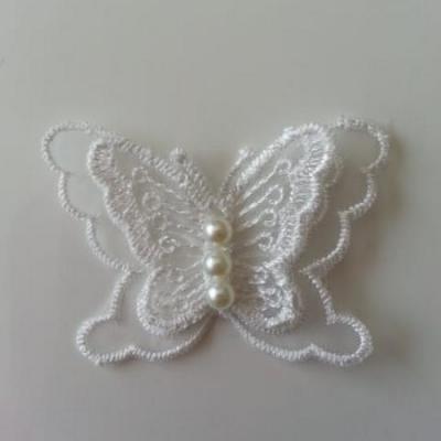 double papillon en dentelle blanc 60*40mm