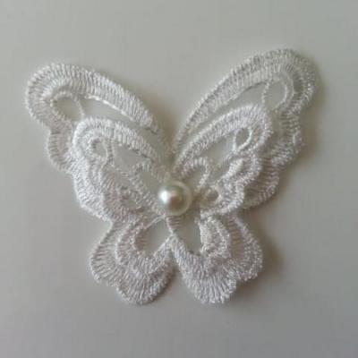Double papillon en dentelle  65mm blanc