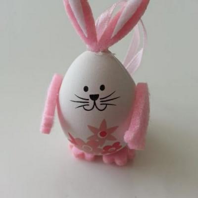 Oeuf lapin rose et blanc idéal pour composition dragées