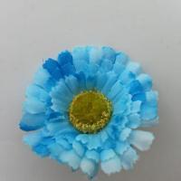 fleur artificielle gerbera en tissu bleu 50mm