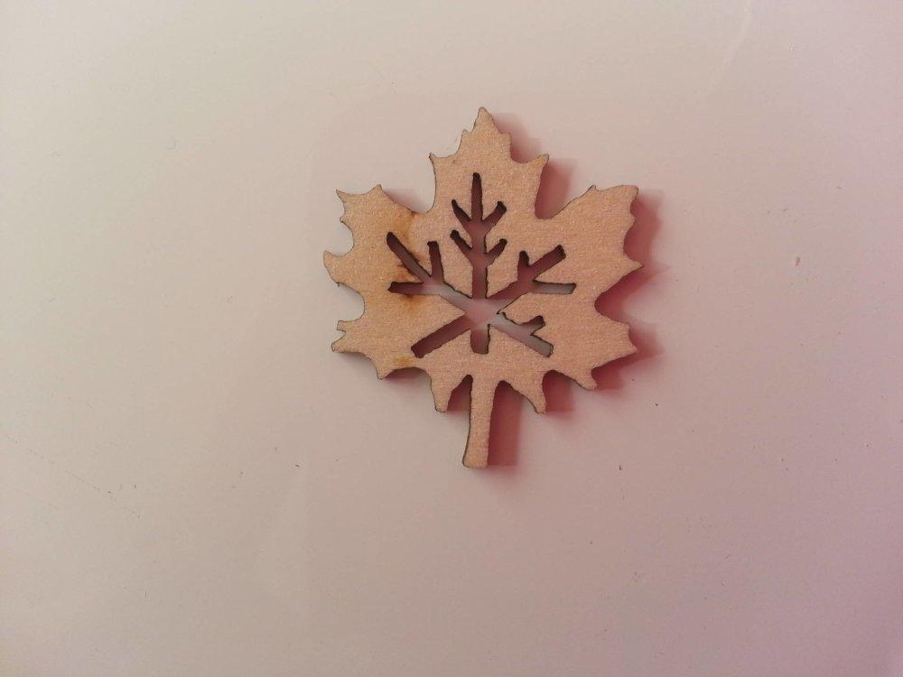 3502713 feuille en bois naturel 25 30mm 1