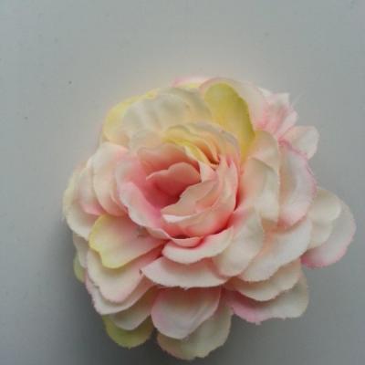 fleur artificielle en tissu ivoire jaune et rose 55mm