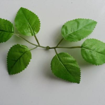 double tige de 6 feuilles de rose artificielles vertes pour création de fleurs artificielles