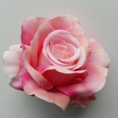 tête de rose artificielle en tissu rose 70mm