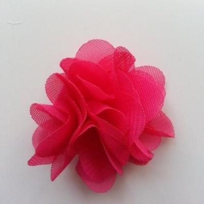Petite fleur en mousseline 40mm rose fuchsia