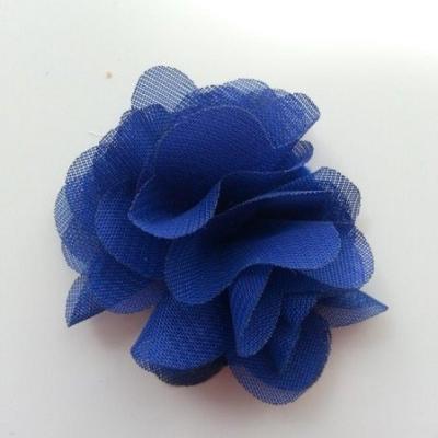 Petite fleur en mousseline 40mm bleu royal