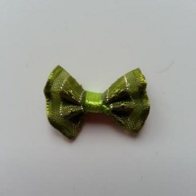 Petit noeud  de couleur vert kaki et argenté    25*19mm