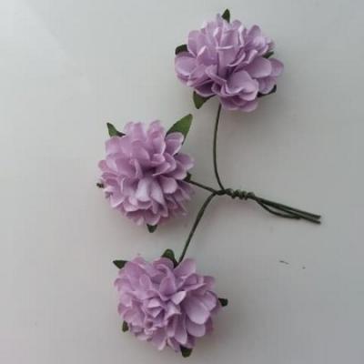 lot de 3 fleurs en papier sur tige mauve 2.5cm