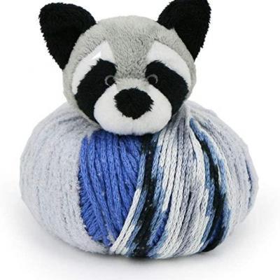 kit bonnet , doudou Top This de DMC raton laveur bleu et gris