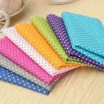 8pcs coton tissu patchwork multicolore pois coupo