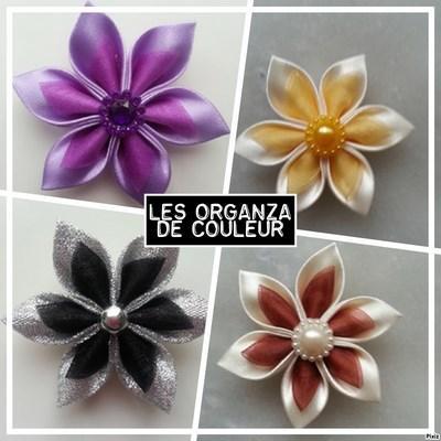 Fleur satin diverses couleurs  et organza 5cm