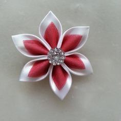 Fleur satin blanche et organza bordeaux 5cm