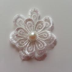 double fleur en dentelle de 50mm blanc