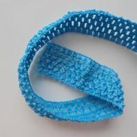 bandeau crochet au mètre bleu turquoise